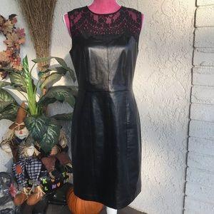 Cynthia Steffe Dresses - Cynthia Steffe faux leather lace cocktail dress